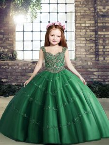 Gorgeous Dark Green Ball Gowns Tulle Straps Sleeveless Beading Floor Length Lace Up Kids Pageant Dress
