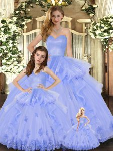 Tulle Sweetheart Sleeveless Lace Up Appliques and Ruffles Quinceanera Gown in Lavender