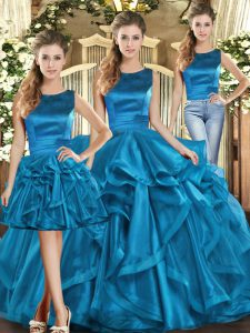 Vintage Teal Three Pieces Scoop Sleeveless Organza Floor Length Lace Up Ruffles Sweet 16 Dresses