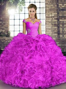 Lilac Off The Shoulder Lace Up Beading and Ruffles Vestidos de Quinceanera Sleeveless