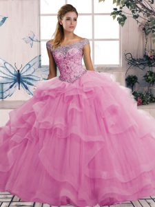 Ideal Rose Pink Sleeveless Beading and Ruffles Floor Length Sweet 16 Dresses