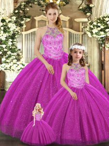 Halter Top Sleeveless Lace Up Vestidos de Quinceanera Fuchsia Tulle