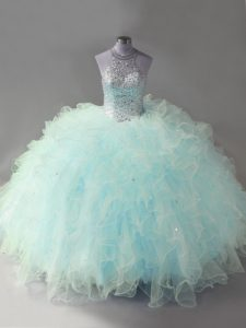 Attractive Floor Length Lace Up Quinceanera Dress Light Blue for Sweet 16 and Quinceanera with Beading and Ruffles