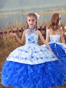 Dramatic Beading and Embroidery and Ruffles Kids Formal Wear Blue And White Lace Up Sleeveless Floor Length
