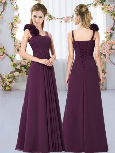 Dark Purple Empire Straps Sleeveless Chiffon Floor Length Lace Up Hand Made Flower Court Dresses for Sweet 16