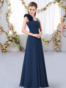 Navy Blue Sleeveless Chiffon Lace Up Dama Dress for Wedding Party