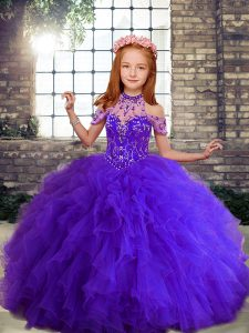Best Purple High-neck Lace Up Beading and Ruffles Little Girl Pageant Gowns Sleeveless