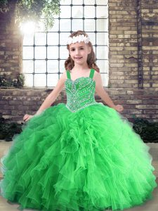 Best Lace Up Little Girl Pageant Gowns Beading Sleeveless Floor Length