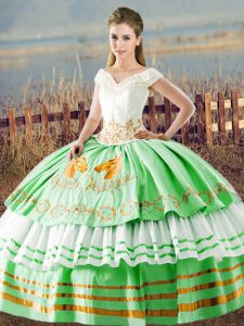 Apple Green Sleeveless Floor Length Embroidery and Ruffled Layers Lace Up Sweet 16 Dress