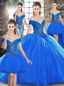 Fabulous Royal Blue Ball Gowns Organza Off The Shoulder Sleeveless Beading Lace Up Sweet 16 Dress Brush Train