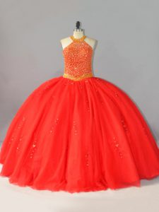 Coral Red Halter Top Neckline Beading Quinceanera Dresses Sleeveless Lace Up