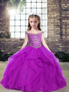 Beauteous Tulle Sleeveless Floor Length Little Girls Pageant Dress Wholesale and Beading and Ruffles