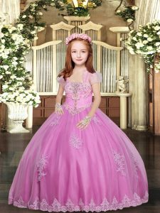 Enchanting Sleeveless Tulle Floor Length Lace Up Girls Pageant Dresses in Lilac with Lace and Appliques