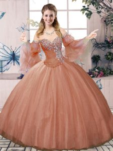 Romantic Sweetheart Sleeveless Quince Ball Gowns Floor Length Beading Rust Red Tulle