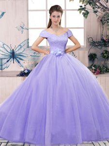 Lavender Tulle Lace Up Quinceanera Dress Short Sleeves Floor Length Lace and Hand Made Flower