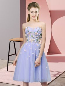 Tulle Sweetheart Sleeveless Lace Up Appliques Damas Dress in Lavender