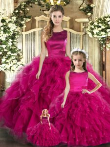 Custom Designed Fuchsia Ball Gowns Tulle Scoop Sleeveless Ruffles Floor Length Lace Up Sweet 16 Dresses