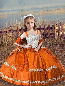 Orange Red Satin Lace Up Straps Sleeveless Floor Length Kids Pageant Dress Beading and Embroidery