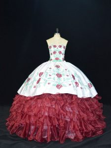 Burgundy Ball Gowns Sweetheart Sleeveless Organza Floor Length Lace Up Embroidery and Ruffles Sweet 16 Quinceanera Dress