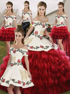 Chic Wine Red Sleeveless Floor Length Embroidery and Ruffled Layers Lace Up Quinceanera Gown