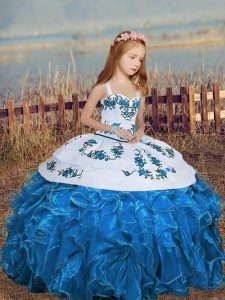 Graceful Floor Length Blue Pageant Gowns For Girls Straps Sleeveless
