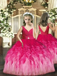 Admirable Beading and Ruffles Little Girls Pageant Gowns Hot Pink Backless Sleeveless Floor Length