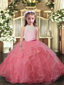 Tulle High-neck Sleeveless Backless Ruffles Little Girls Pageant Dress Wholesale in Watermelon Red