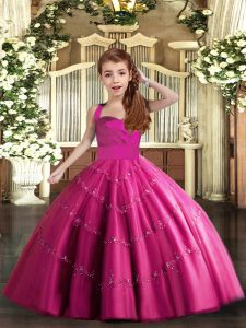 Fashion Fuchsia Ball Gowns Straps Sleeveless Tulle Floor Length Lace Up Beading Little Girl Pageant Dress