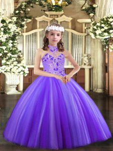 Classical Lavender Kids Pageant Dress Party and Wedding Party with Appliques Halter Top Sleeveless Lace Up