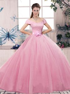 Latest Rose Pink Ball Gowns Lace and Hand Made Flower Quinceanera Gown Lace Up Tulle Short Sleeves Floor Length