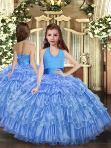 Fashion Floor Length Blue Pageant Gowns Halter Top Sleeveless Lace Up