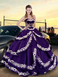 High Quality Purple Lace Up Quince Ball Gowns Embroidery and Ruffled Layers Sleeveless