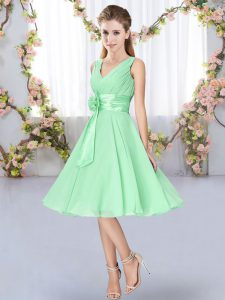 Sleeveless Knee Length Hand Made Flower Lace Up Dama Dress for Quinceanera with Apple Green