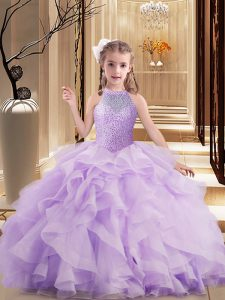 Lavender High-neck Neckline Beading and Ruffles Kids Pageant Dress Sleeveless Lace Up