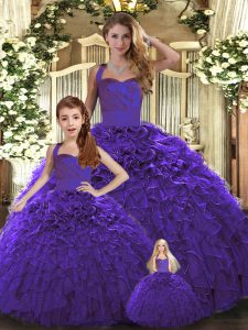 Sweet Sleeveless Floor Length Ruffles Lace Up Sweet 16 Quinceanera Dress with Purple