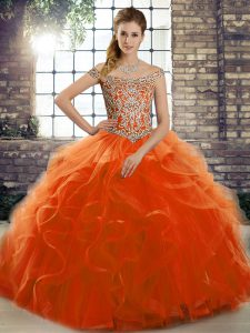 Orange Red Tulle Lace Up Off The Shoulder Sleeveless Vestidos de Quinceanera Brush Train Beading and Ruffles