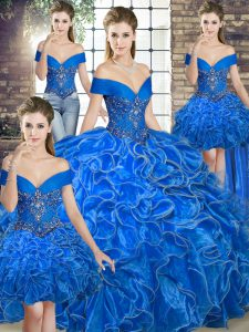 Spectacular Royal Blue Sleeveless Floor Length Beading and Ruffles Lace Up Quinceanera Dress
