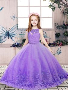 Scoop Sleeveless Kids Pageant Dress Floor Length Lace and Appliques Lavender Tulle