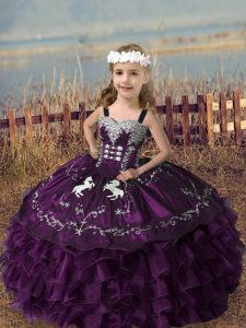 Floor Length Dark Purple Pageant Gowns For Girls Straps Sleeveless Lace Up