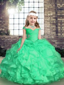 Sleeveless Lace Up Floor Length Embroidery and Ruffles and Ruching Little Girls Pageant Gowns