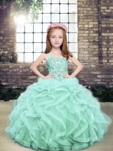 Adorable Sleeveless Beading and Ruffles Lace Up Pageant Gowns For Girls