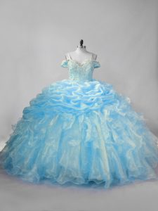 Baby Blue Quince Ball Gowns Organza Brush Train Sleeveless Beading and Ruffles and Pick Ups