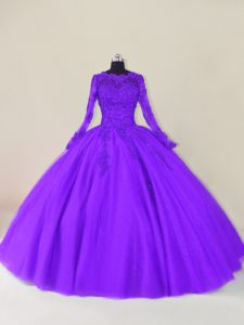 Scalloped Long Sleeves Zipper Quinceanera Dresses Purple Tulle