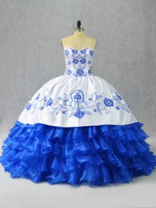 On Sale Sleeveless Satin and Organza Floor Length Lace Up Quinceanera Dress in Blue And White with Embroidery and Ruffled Layers