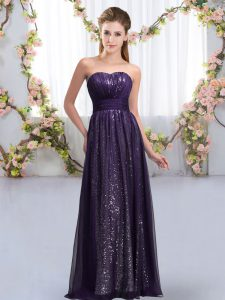 Romantic Sleeveless Chiffon and Sequined Floor Length Lace Up Court Dresses for Sweet 16 in Dark Purple with Sequins