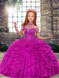 Perfect Tulle High-neck Sleeveless Lace Up Beading and Ruffles Little Girls Pageant Dress Wholesale in Fuchsia