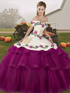 Fuchsia Lace Up Sweet 16 Dress Embroidery and Ruffled Layers Sleeveless Brush Train