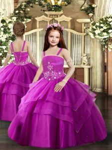 Fuchsia Ball Gowns Beading and Ruching Kids Pageant Dress Lace Up Tulle Sleeveless Floor Length