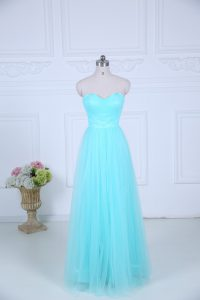 Aqua Blue Zipper Sweetheart Ruching Quinceanera Court of Honor Dress Tulle Sleeveless