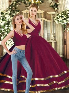 Burgundy Vestidos de Quinceanera Sweet 16 and Quinceanera with Ruffled Layers V-neck Sleeveless Backless